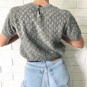 Grey short sleeve shell knit grandma sweater S
